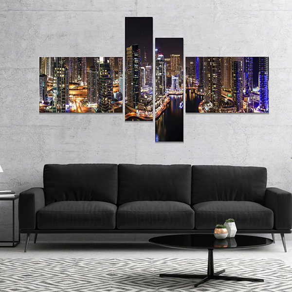 Design Art Dubai Marina View At Night Cityscape Canvas Print - 4 Panels