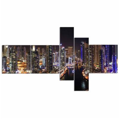 Designart Dubai Marina View At Night Cityscape Canvas Print - 5 Panels