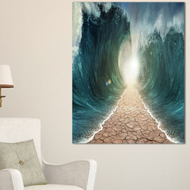 Designart Pathway Through The Parted Seas Canvas Print