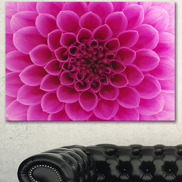 Design Art Dark Pink Abstract Flower Petals Canvas Art Print
