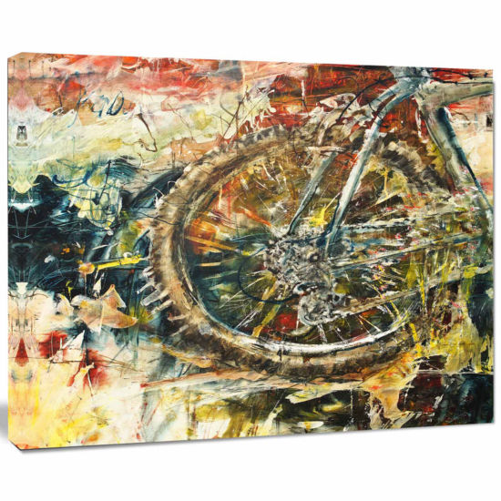 Designart Mountain Bike Oil Painting Abstract Canvas Artwork