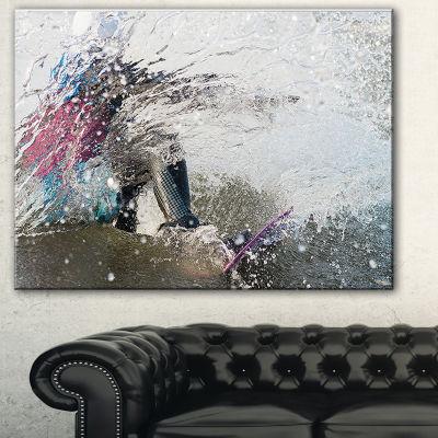 Design Art Guy On A Wakeboard Landscape Canvas Art Print