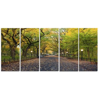 Designart The Mall Area In Central Park LandscapeCanvas Art - 5 Panels
