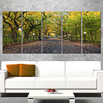 Designart The Mall Area In Central Park LandscapeCanvas Art - 5 Panels