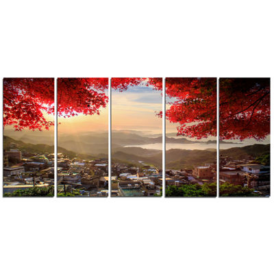 Designart Taiwan Township With Red Trees LandscapeCanvas Art - 5 Panels