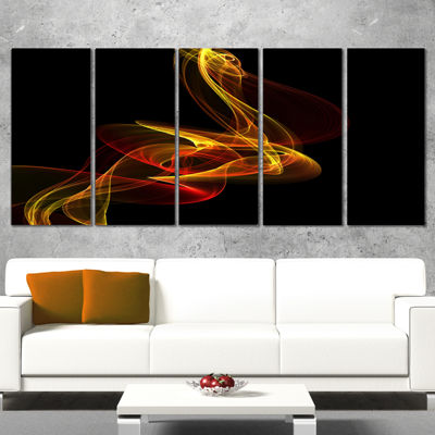 Design Art Red Yellow Twisted Waves Fractal Abstract Canvas Wall Art - 5 Panels