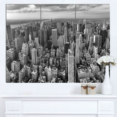 Design Art Panoramic Aerial View Of Manhattan Modern Cityscape Canvas Art Print - 3 Panels