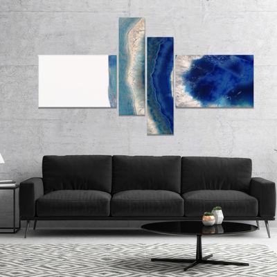 Designart Macro Of Blue Agate Stone Abstract Canvas Wall Art Print - 4 Panels