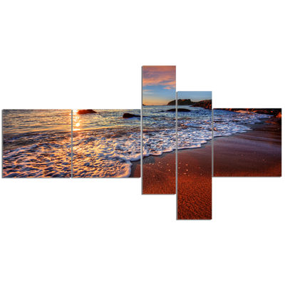 Design Art Stunning Ocean Beach At Sunset Seashore Canvas Art Print - 5 Panels