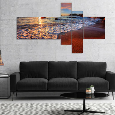Designart Stunning Ocean Beach At Sunset SeashoreCanvas Art Print - 5 Panels