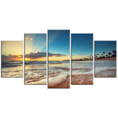 Designart Exotic Beach In Dominican Republic Seashore Canvas Art Print - 5 Panels