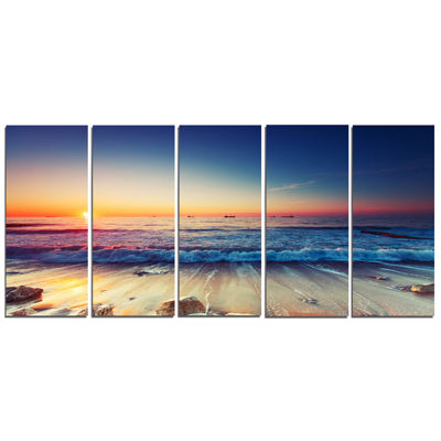 Designart Beautiful Sunrise Over Blue Sea Canvas Art Print - 5 Panels