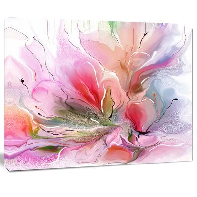 Designart Lovely Painted Floral Design Canvas WallArt