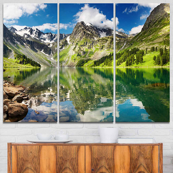 Design Art Reflecting Mountain Lake Landscape Art Print Canvas - 3 Panels