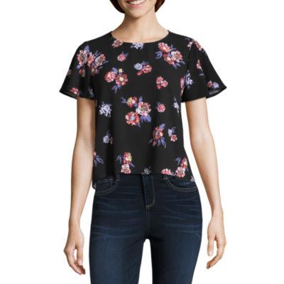 Rewind Short Sleeve Crew Neck Floral T-Shirt-Womens Juniors