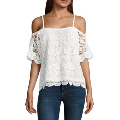 Miss Chievous Elbow Sleeve Straight Neck Lace Lace Blouse-Juniors