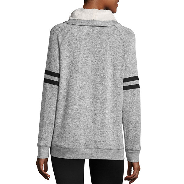 Long Sleeve Funnel Neck Pullover-Juniors