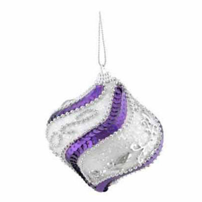 """3ct White  Purple Sequined and Silver Beaded Shatterproof Onion Christmas Ornaments 3"""" (75mm)"""""""