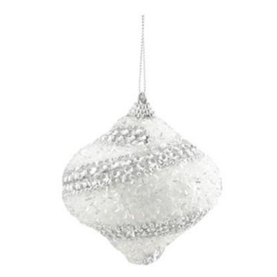 "3ct White and Silver Beaded and Glittered ConfettiShatterproof Onion Christmas Ornaments 3"" (75mm)"