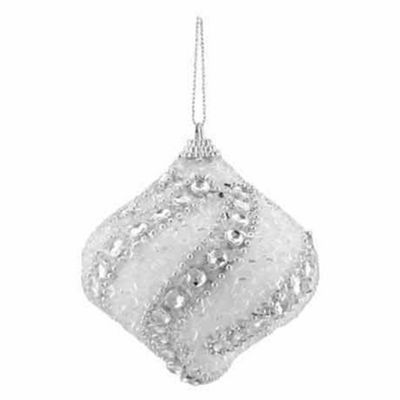 "3CT White and Silver Beaded and Glittered Confetti Shatterproof Onion Christmas Ornaments 3"" (75mm)"""