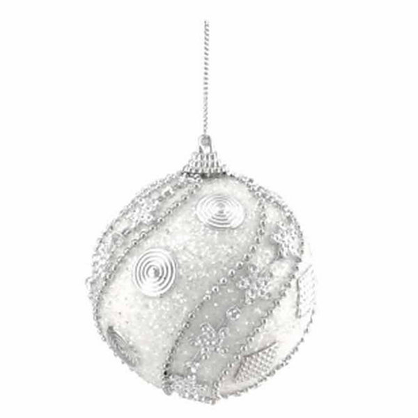 "3ct White and Silver Beaded and Glittered Shatterproof Christmas Ball Ornaments 3"" (75mm)"""