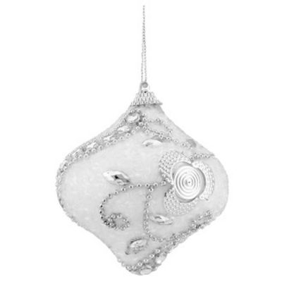 "3ct White and Silver Beaded Shatterproof Onion Christmas Ornaments 3"" (75mm)"""