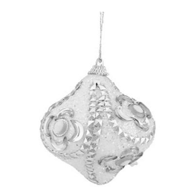 "3ct White and Silver Rhinestone and Glittered Shatterproof Onion Christmas Ornaments 3"" (75mm)"""