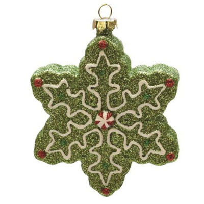 """4"""" Merry & Bright Green  White and Red Glitter Shatterproof Snowflake Christmas Ornament"""""""