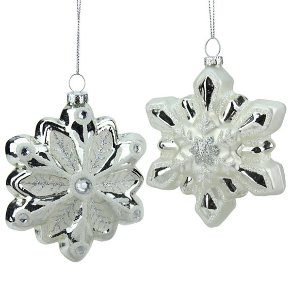 "4"" Silver and White Snowflake with Faux Gems Glass Christmas Ornament"""
