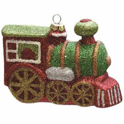 "4.25"" Merry & Bright Multi-Colored Glitter Drenched Shatterproof Christmas Train Ornament"""