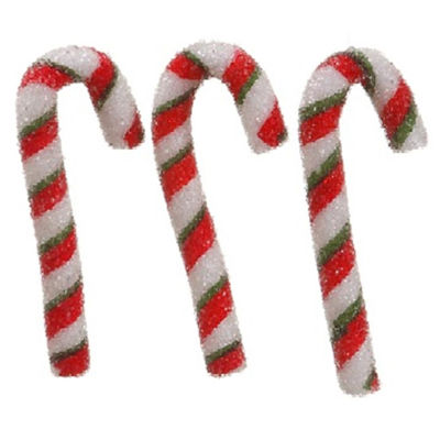 Pack of 3 Peppermint Twist Sugared Candy Cane Christmas Ornaments 5.5""