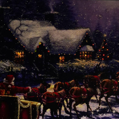 "LED Lighted Santa and Reindeer Making Deliveries Christmas Canvas Wall Art 15.75"" x 23.5"""