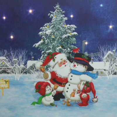 """LED Lighted Santa Claus with Snowmen and Christmas Tree Canvas Wall Art 15.75"""" x 19.5"""""""