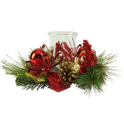 """16"""" Red Ornament and Berry Gold Glittered Christmas Hurricane Pillar Candle Holder"""""""