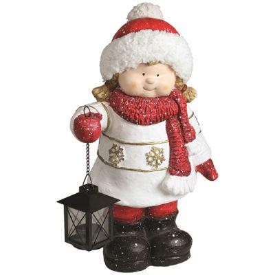 "16.50"" Christmas Morning Girl Holding Tealight Lantern Christmas Tabletop Figure"""