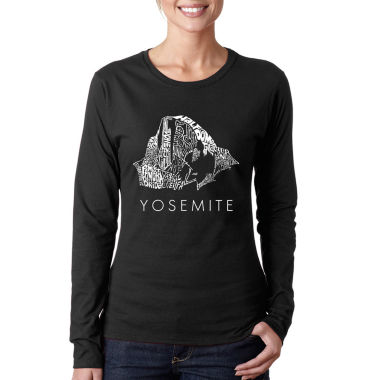 Los Angeles Pop Art Women's Long Sleeve Word Art T-Shirt -Yosemite