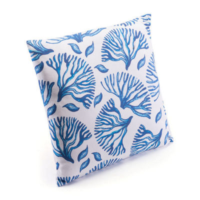 Blue Coral Throw Pillow