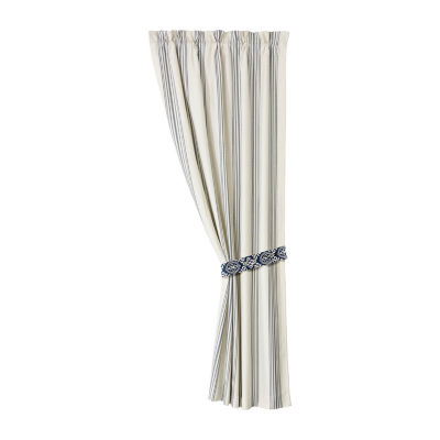 White and Navy Striped Curtain, pair, 48X84