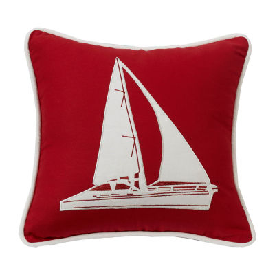 HiEnd Accents Red pillow with Sailboat applique