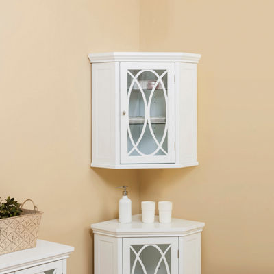 "24.5"" H Cassini Corner Wall Cabinet with 2 adjustable tempered glass shelves"