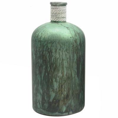 "10"" Botanic Beauty Handcrafted Green Verdigris Style Decorative Glass Vase with Raffia Band"""