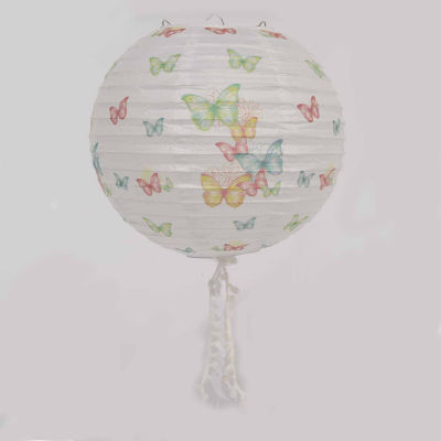 "15.75"" L'Eau de Fleur White Butterfly and Floral Chinese Paper Lantern with Pom Pom Tassels"""