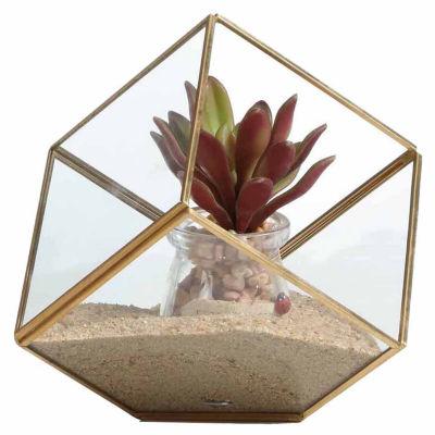 "Danya B. 9.5"" Cube Brass And Glass Terrarium"""