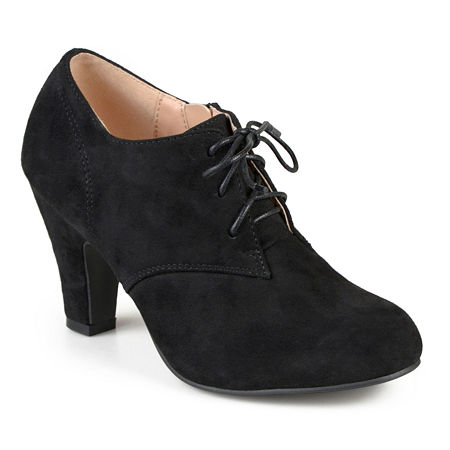 Vintage Heels, Retro Heels, Pumps, Shoes Journee Collection Womens Leona-Wd Booties Stacked Heel Wide Width 8 Wide Black $52.49 AT vintagedancer.com