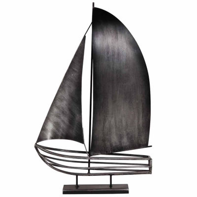 Danya B. Brushed Metal Sailboat Sculpture