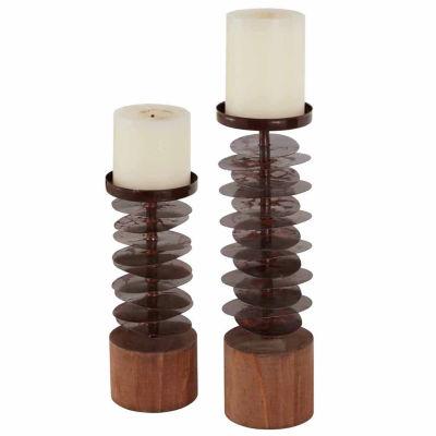 Danya B. Set Of 2 Eucalyptus Metal And Wood Candleholders