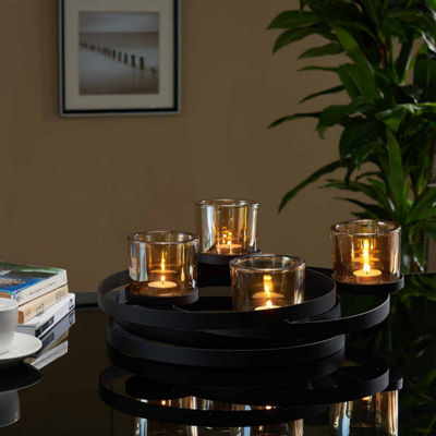 Danya B. Circles Metal Centerpiece with Iridescent Glass Cups