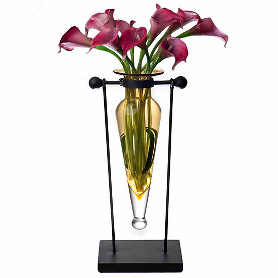 Danya B.  Amphora Vase on Swiveling Iron Stand with Finials and Hinge