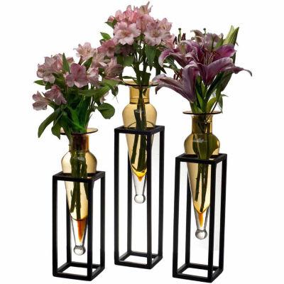 Danya B. Set Of 3  Amphorae Vases On Square Tubingmetal Stands