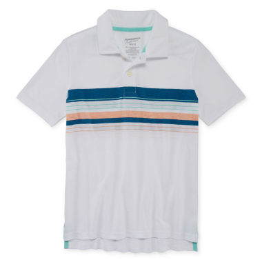 Arizona Short Sleeve Stripe Knit Polo Shirt - Big Kid Boys
